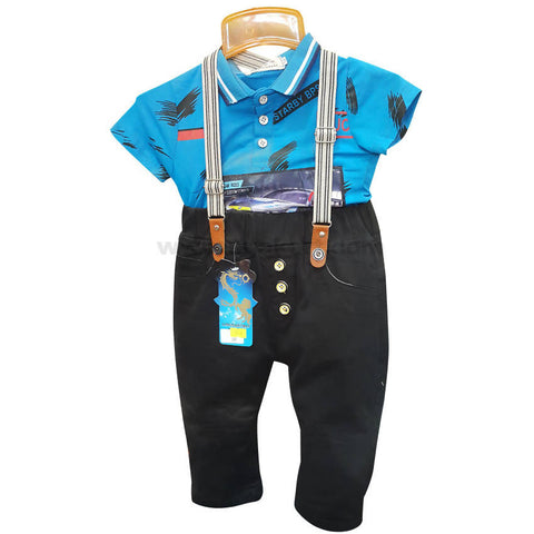 Boy's Blue Short Sleeve T-Shirt & Black Pant with Suspender (5 to 8 yrs)