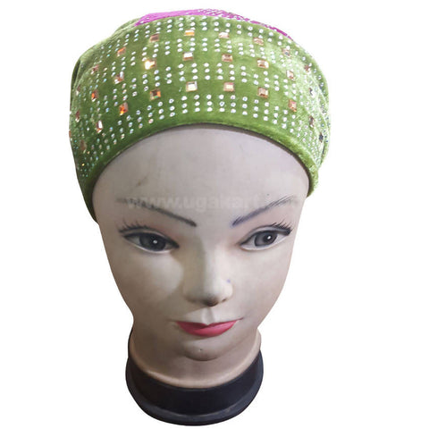 Hijab Pink and green With Artifical Stones Cap Style