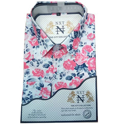 Mens Formal Long Sleeve Designer Shirt - Pink and Blue