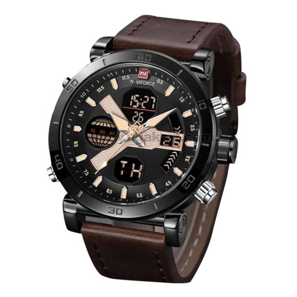 NaviForce Analog and Digital Watch Black and Brown With Date
