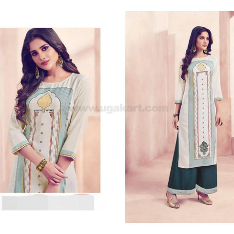 Soft reyon material with print concept kurti with bottom(plazo)_XXL