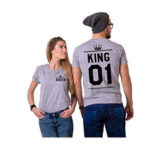 Grey Couple T-Shirts Printed With King And Queen
