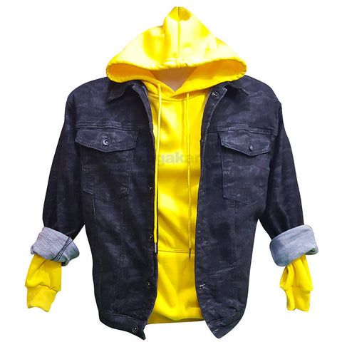 Men's Black Jacket With Yellow Hood