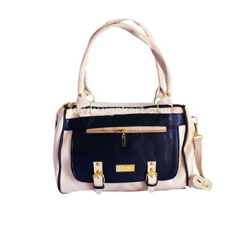 Women'S Leather Messenger Handbag - Black, Light Pink