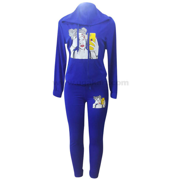 Women's Blue Long Sleeve Hooded Romper