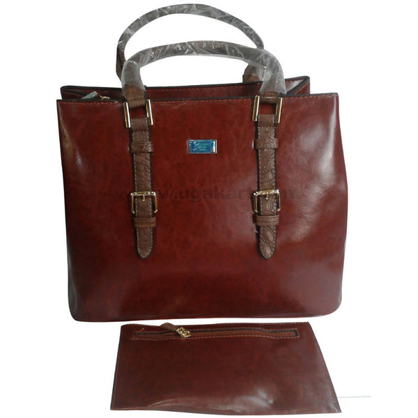Brown Square Shaped Hand Bag Set of 2
