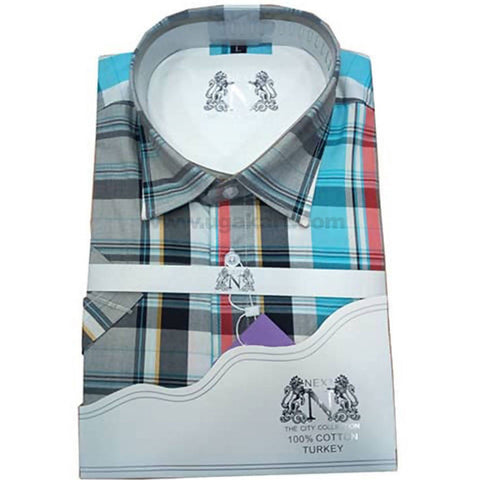 Checked Office And Casual Mens Short Sleeved Shirt - Multi color