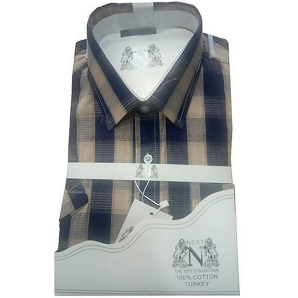 Checked Office And Casual Mens Short Sleeve Shirt - Blue and khaki