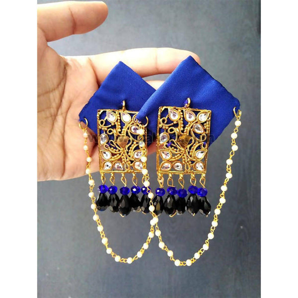 Handcrafted Dark Blue Earrings With Black and White Stone