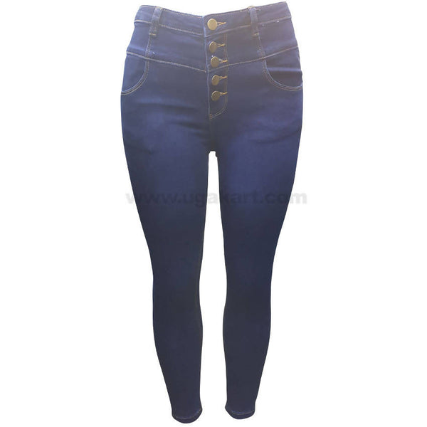 High Waist Dark Blue Jeans For Women