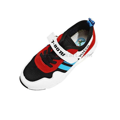 7-BOTU White And Red & Black Kids Sneakers