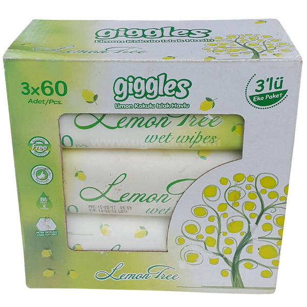 GIGGLES BABY WET WIPES LEMON TREE 60 PCS X 3 PACKAGE
