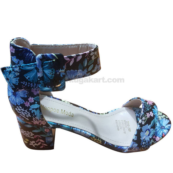Women's Blue Floral Ankle Strap Heel Shoes