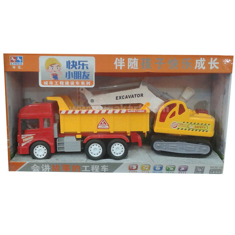 Yellow & Red Kids Excavator Truck Toy