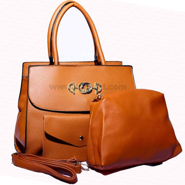 CC Brown 3PCS Faux Leather Hand Bag