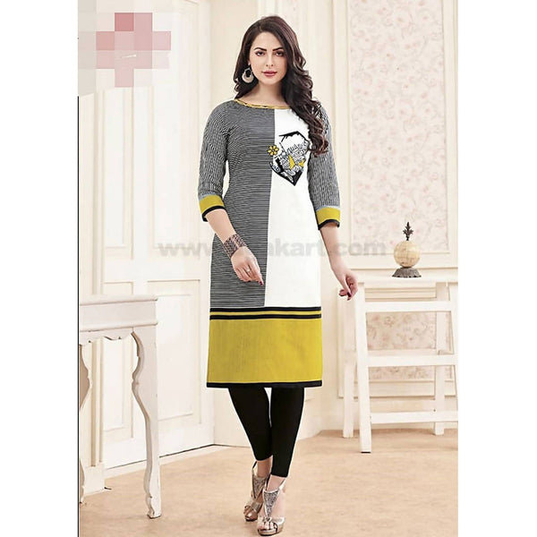 Top Kurti Cotton Material With Black Legging Full Set-XXL (Bust Size - 50)