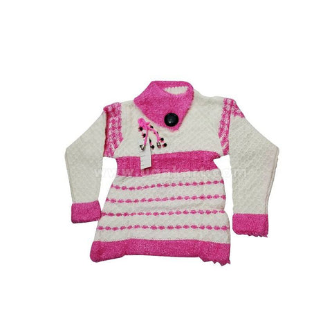Kids Pull-Neck Sweater - Pink & White