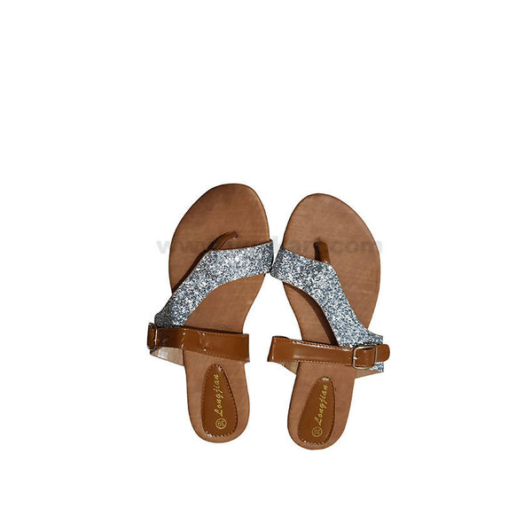 WOMEN LONGJIAN SILVER & BROWN SANDLE