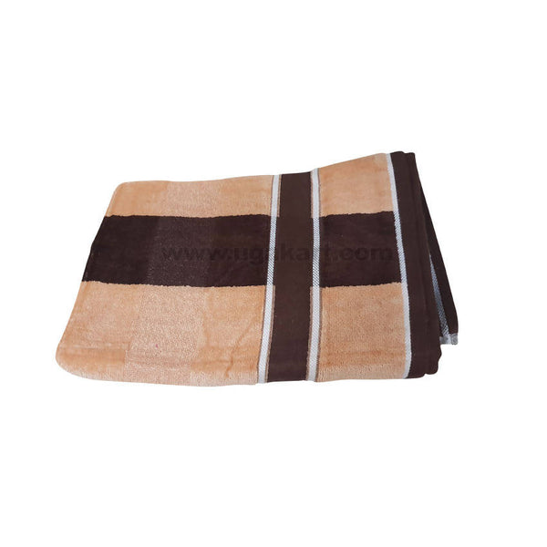 Bath Towel Brown And White Strips-Size 70X140Cm