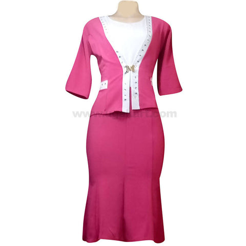 Women's Pink Long Dress with White Pattern Design