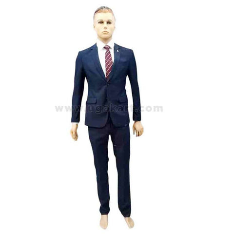 Navy Blue Mens Suit With White Shirt And Tie