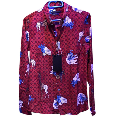 Men's Maroon WildLife Themed Long Sleeve Shirt