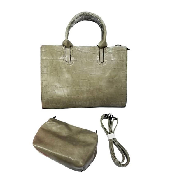 2Piece Crocodile Leather Ladies Handbag - Green