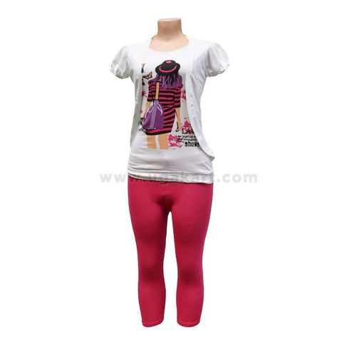 Ladies T-Shirt With 3/4 Leggings - XL