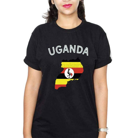 Map Of Uganda Flag Designed Women's T-Shirt - Black