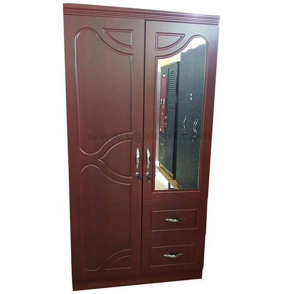 Wooden Double Door Caboured With 2 Draw and Mirror