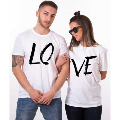 White Love Couple T-Shirts (Size: S,M,L,XL)