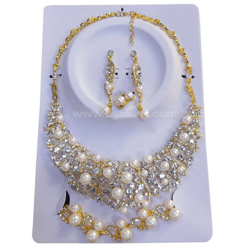 Golden Necklace Set CJ Stones and Pearls with Earrings, Bracelet and Ring