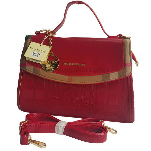 Burberry Red Hand Bag With Side Shoulder Straps