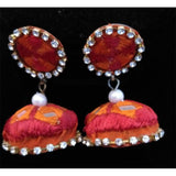 Red And Orange Thread Earrings