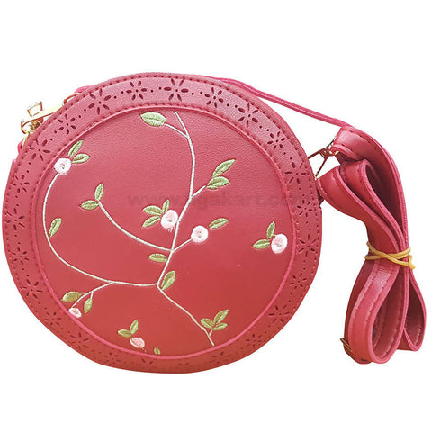 Red Round Ladies Cross Bag Flower Design