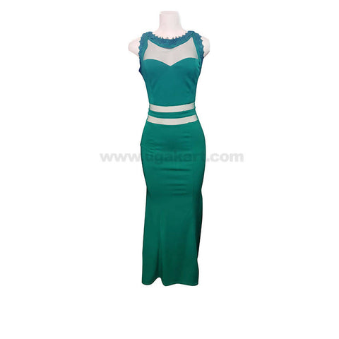 Green Party Wear Sleeveless Long Gown In Red,Black,Blue-Size M,L,XL