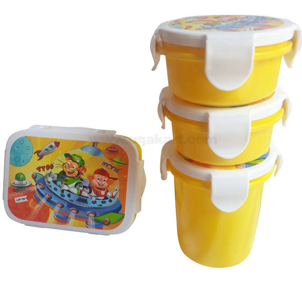 Pratap Bumblebee Yellow Lunch Box With Water Bottle Pack Of 2