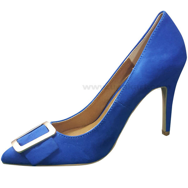 Blue Plain With Belt High Heel Shoe For Women