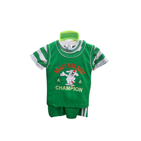 Green T-Shirt And Shorts For Boy 6 m to 1 yr