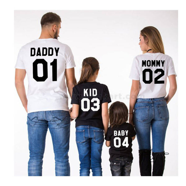 2 Black And 2 White Printed Family T-Shirts Mommy, Daddy, Kid, Baby