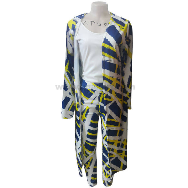 Women's Multi Color Throw On Dress & Pant with White Top