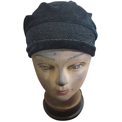 Hijab Black and Glitter Cap Style