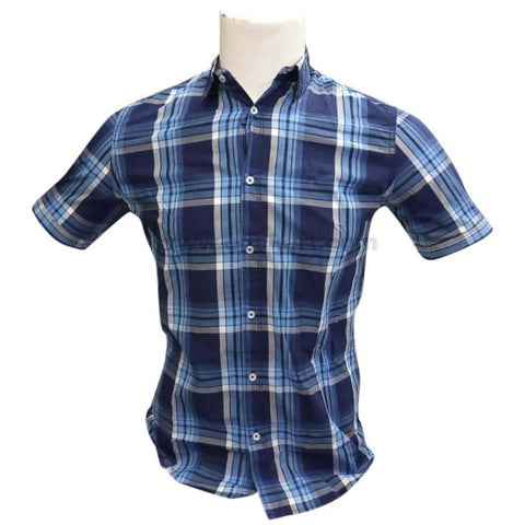 Blue Men's Checkered Short Sleeve Casual Shirt