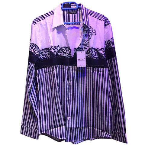Men's Purple & Navy Blue Striped Long Sleeve Shirt