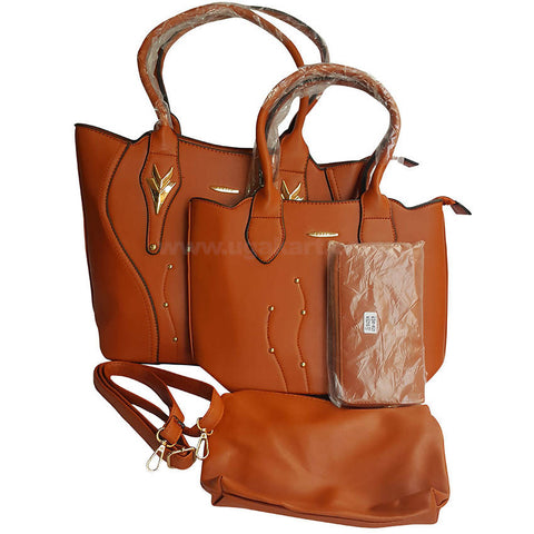 Brown Hand Bag Set Of 4