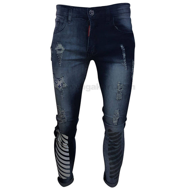 Dark Blue Jeans With White & Black Stripes For Mens
