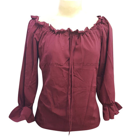 Women's Elegant Maroon Workwear Blouse Top_Free Size