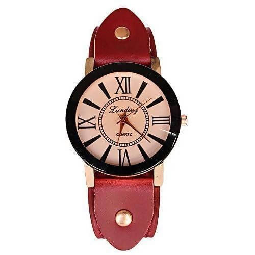 Maroon Leather Watch