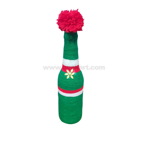 Decoration Hand Made Bottle With Flowers Small-Green