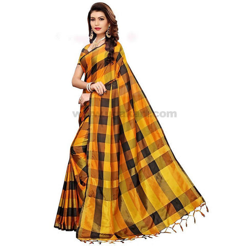 Yellow and Black Weaved Checked Cotton Silk Saree With Blouse Piece